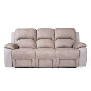 Calais Fabric Recliner 3 Seater Sofa In Grey