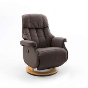 Calgary Comfort Leather Relaxer Chair In Brown And Natural