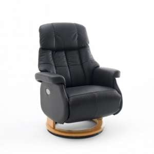Calgary Leather Electric Relaxer Chair In Black And Natural