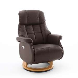 Calgary Leather Electric Relaxer Chair In Brown And Natural