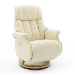 Calgary Leather Electric Relaxer Chair In Cream And Natural