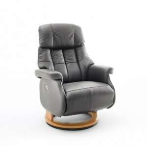 Calgary Leather Electric Relaxer Chair In Grey And Natural