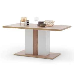 Cali Wooden Dining Table In Oak And White