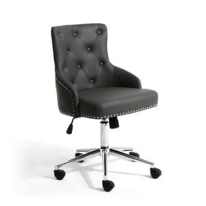 Calico Office Chair In Graphite Grey With Chrome Base