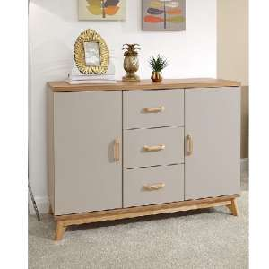 Calila Large Sideboard In Light Grey With 3 Drawers And 2 Doors