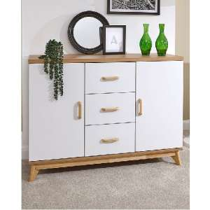Calila Large Sideboard In White With 3 Drawers And 2 Doors