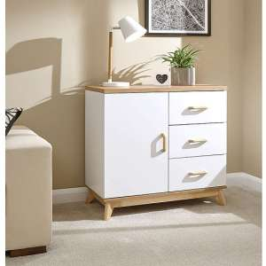 Calila Small Sideboard In White With 3 Drawers And 1 Door