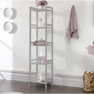 Calino Wooden 5 Tier Shelving Unit Narrow In Grey
