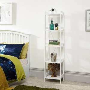 Calino Wooden 5 Tier Shelving Unit Narrow In White