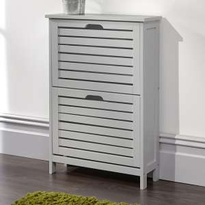 Calino Wooden Shoe Cabinet In Grey With 2 Flap Doors