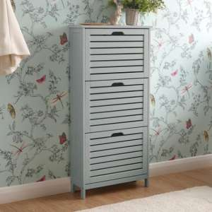 Calino Wooden 3 Tier Shoe Storage Cabinet In Grey