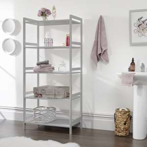Calino Wooden 5 Tier Shelving Unit Wide In Grey