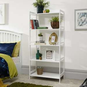 Calino Wooden 5 Tier Shelving Unit Wide In White