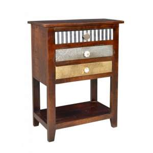 Callas Wooden Telephone Table In Mango Wood With 3 Drawers