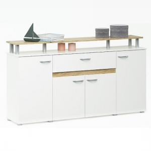 Calvi Wooden Sideboard In White And Brushed Oak With 4 Doors