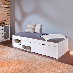 Camden Storage Bed In White With 2 Drawers And Pullout Cabinet