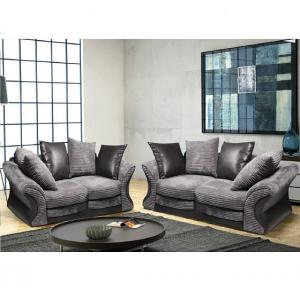 Camden Fabric Sofa Suite 3 And 2 Seater Grey And Black