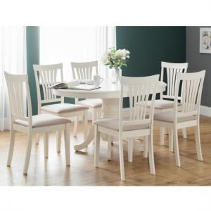 Cameo Extendable Dining Table Set Ivory Lacquered And 6 Chairs