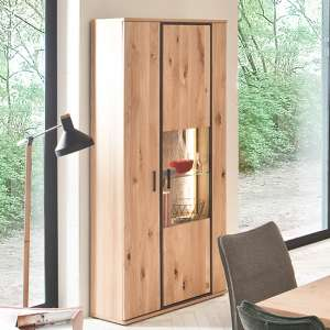Campinas LED Wooden Display Cabinet In Knotty Oak With 2 Doors
