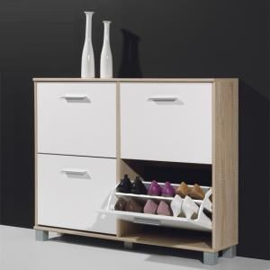 Modern Shoe Storage Cabinet In Canadian Oak And White
