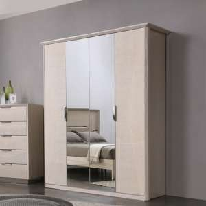 Canaria Mirrored Wardrobe In Cream Walnut High Gloss