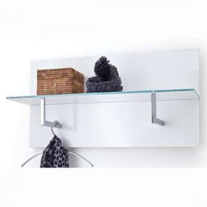 Canberra Wall Mounted Coat Rack In White Gloss With Glass Shelf