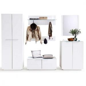 Canberra Shoe Cabinet In Glass Top And White High Gloss_3