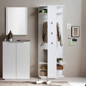 Canberra Hallway Furniture Set 2 In White High Gloss And Glass_2