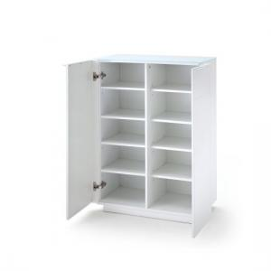 Canberra Shoe Cabinet In Glass Top And White High Gloss_2