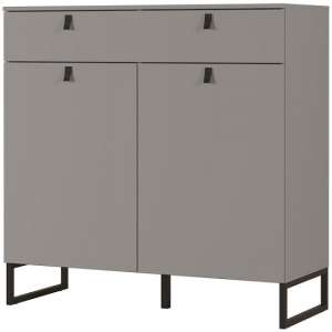 Cancun Wide Shoe Storage Cabinet In Stone Grey Finish