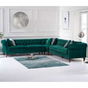Candila Modern Fabric Corner Sofa In Green Velvet