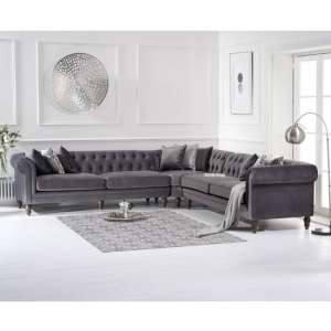 Candila Modern Fabric Corner Sofa In Grey Velvet