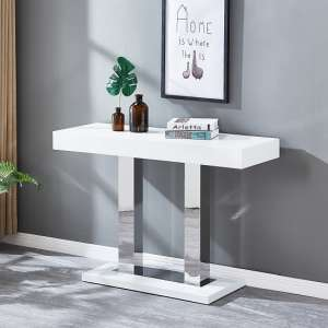 Candice Console Table In White Gloss With Stainless Steel Legs