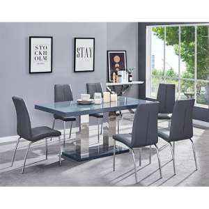 Candice Dining Table In Grey Gloss With 6 Grey Opal Chairs