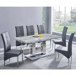 Candice Gloss Dining Table In Diva With 6 Grey Vesta Chairs