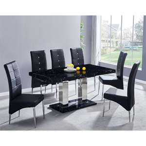 Candice Gloss Dining Table In Milano With 6 Black Vesta Chairs