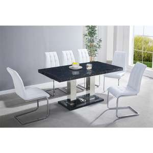 Candice Gloss Dining Table In Milano Effect With 6 White Chairs