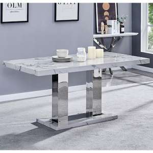 Candice High Gloss Dining Table In Diva Marble Effect
