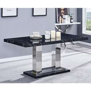 Candice High Gloss Dining Table in Milano Marble Effect