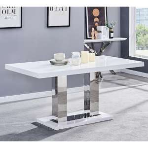 Candice Wooden Dining Table In White High Gloss