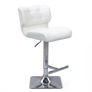 Candid Bar Stool In White Faux Leather With Chrome Plated Base