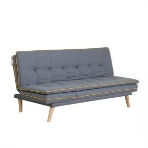 Candy Contemporary Sofa Bed In Grey Fabric With Wooden Legs