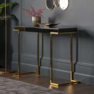 Canela Mirrored Console Table In Black With Gold Metal Legs