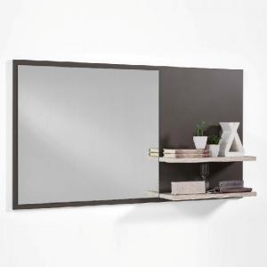 Canelo Wall Mirror With Shelves In Lava And Sand Oak
