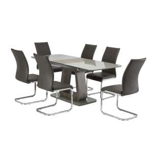 Cannes Extendable Glass Dining Table Grey With 4 Ellis Chairs