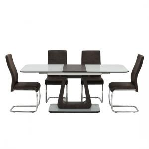 Cannes Extendable Glass Dining Table In White With 4 Chairs