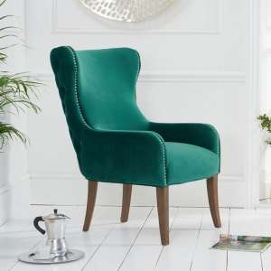 Canning Velvet Accent Lounge Chair In Green With Wooden Legs