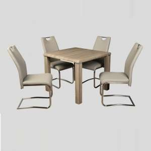 Cannock Dining Set In Havana Oak With Four Clare Khaki Chairs