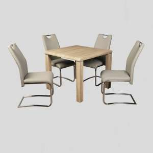 Cannock Dining Set In Sonoma Oak With Four Clare Khaki Chairs