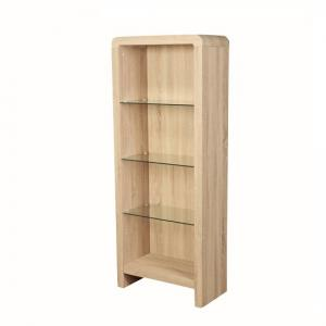 Cannock Wooden Bookcase In Sonoma Oak With 3 Glass Shelf